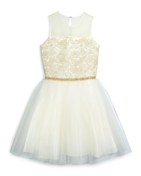 Sleeveless Corded-Lace & Tulle Dress, Gold, Size 8-14