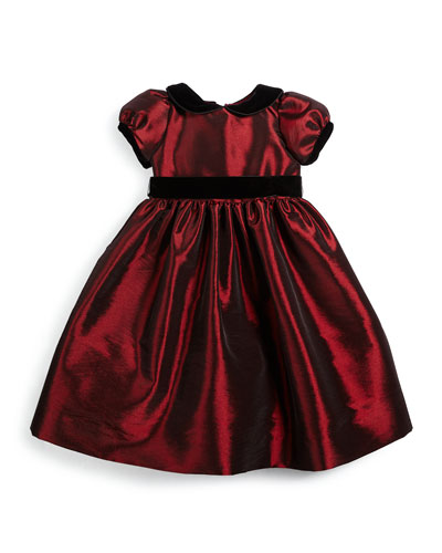 Satin Velour-Trim Party Dress, Garnet, Size 18M-3T