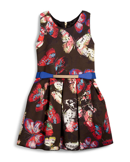 Sleeveless Pleated Butterfly Dress, Black/Multicolor, Size 4-6