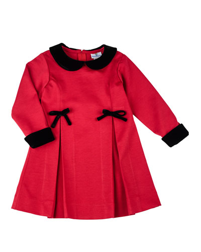 Long-Sleeve Pleated Ponte Dress, Red, Size 6-24 Months