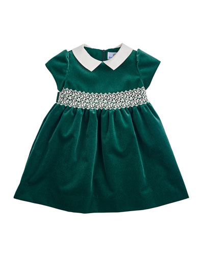 Velvet Cap-Sleeve Dress, Green, Size 3-24 Months