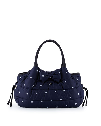 Stevie Quilted Polka-Dot Diaper Bag, Navy