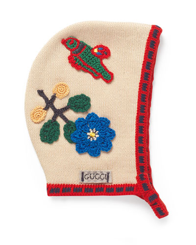 Girls' Cotton Crochet Bonnet, Beige/Red