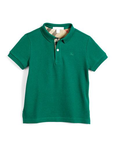 Short-Sleeve Pique Polo Shirt, Bright Green, Size 4-14