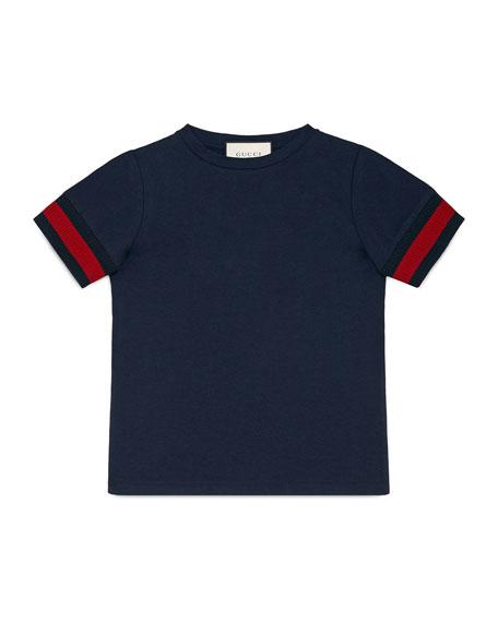 Web-Trim Cotton Jersey Tee, White, Size 4-12