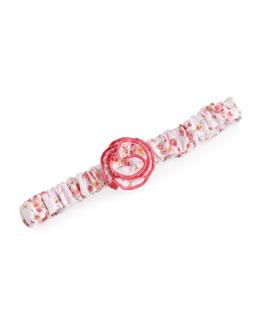 Strawberry Summer Pima Floral-Print Headband, Pink