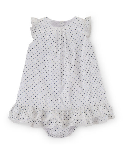 Sleeveless Pima Polka-Dot Dobby Dress w/ Bloomers, White, Size 9-24 Months