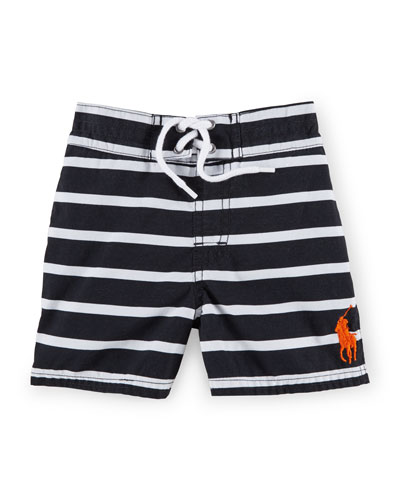Sanibel Striped Tie-Front Swim Trunks, Size 9-24 Months