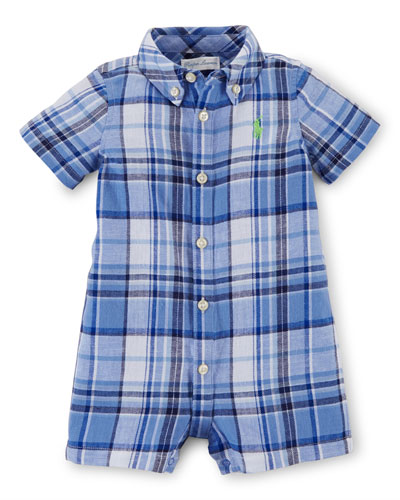 Plaid Poplin Button-Front Shortall, Blue, Size 3-18 Months