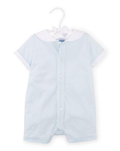 Pima Embroidered Sailor Shortall, Beryl Blue, Size 3-18 Months