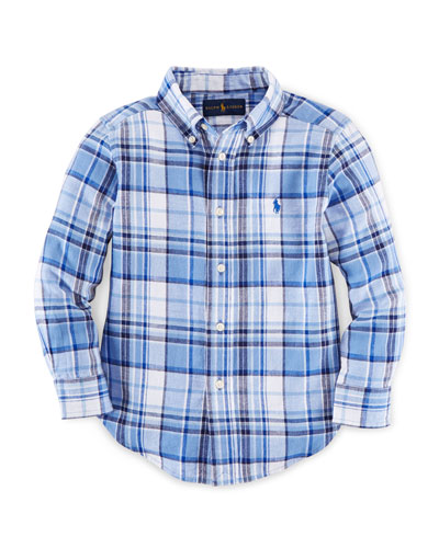 Long-Sleeve Plaid Linen-Blend Shirt, Blue, Size 2-7