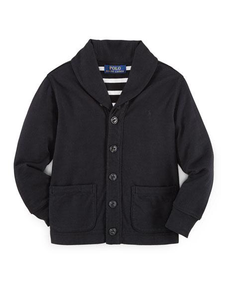 Jersey Shawl-Collar Jacket, Polo Black, Size 2-7