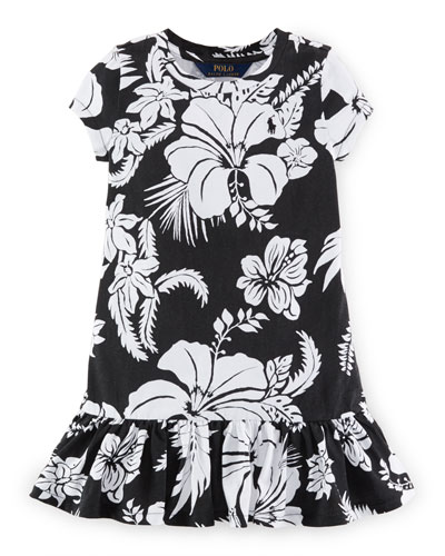 Cap-Sleeve Floral Shift Dress, Polo Black, Size 2-6X
