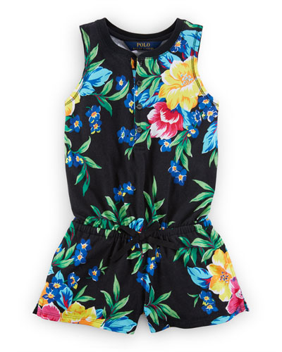 Sleeveless Floral Jersey Romper, Black/Multicolor, Size 2-6X