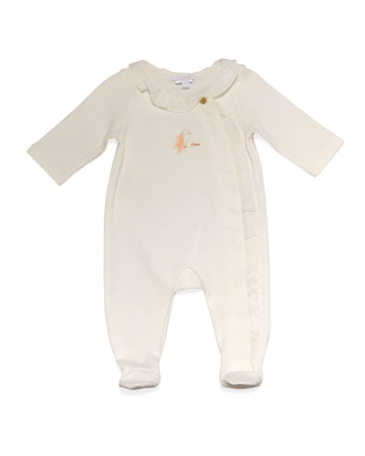 Cotton Ruffle-Trim Footie Pajamas, Cream, Size Newborn-6 Months