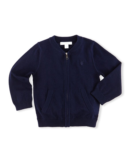 Jaxson Zip-Front Cotton Cardigan, Navy, Size 6M-3