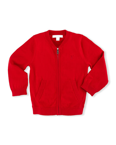 Jaxson Zip-Front Cotton Cardigan, Red, Size 6M-3
