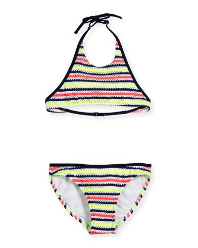 Marina Crochet Halter Bikini, Multicolor, Size 8-14