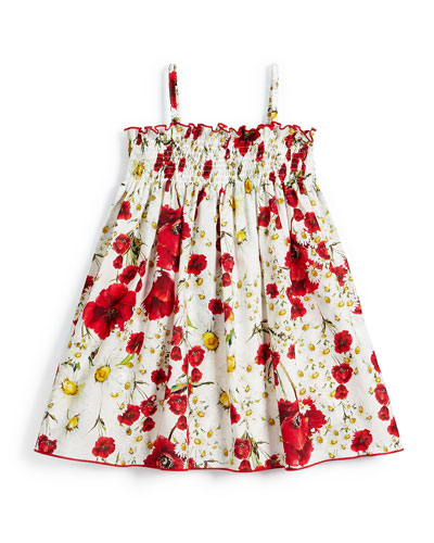 Sleeveless Floral Poplin Sun Dress, White, Size 4-6