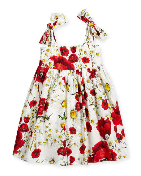 Sleeveless Floral Poplin A-Line Dress, White/Red, Size 8-10