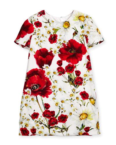 Short-Sleeve Floral Crepe Shift Dress, White/Multicolor, Size 8-12