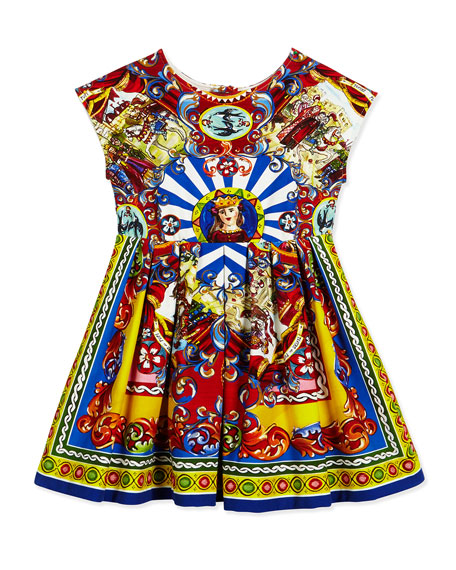 Cap-Sleeve Sicily Fit-and-Flare Dress, Multicolor, Size 4-6