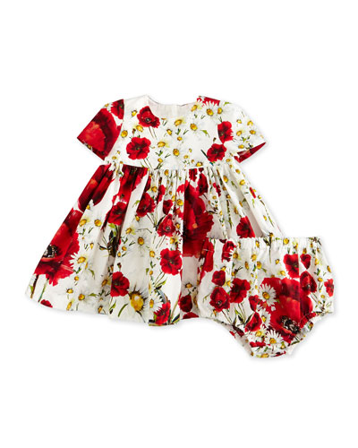 Short-Sleeve Floral Poplin Dress w/ Bloomers, White, Size 9-30 Months