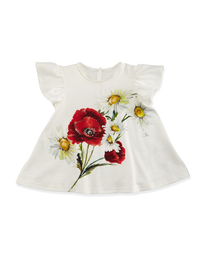 Floral Flutter-Sleeve Jersey Tee, White, Size 9-24 Months