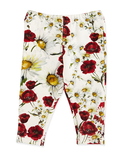 Floral Stretch Leggings, White, Size 9-24 Months