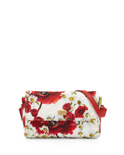 Girls' Floral Crossbody Bag, White/Red