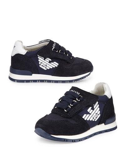 Leather-Trim Grip-Strap Sneaker, Indigo, Toddler