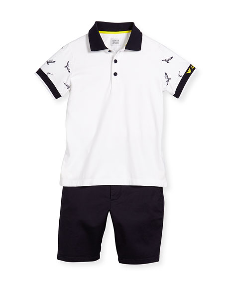 Short-Sleeve Polo Shirt & Twill Shorts Set, Light