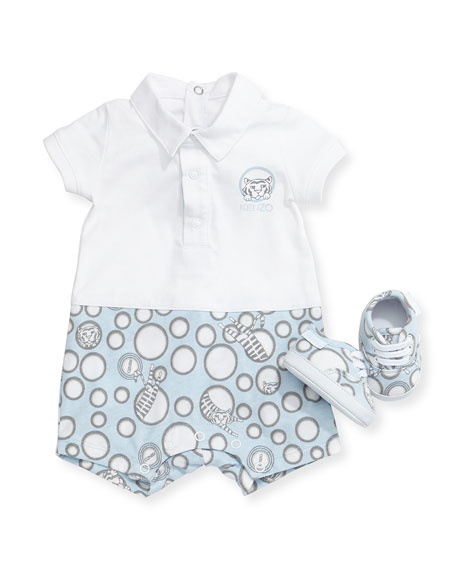 Short-Sleeve Printed Playsuit & Shoes, Light Blue, Size 6-18 Months