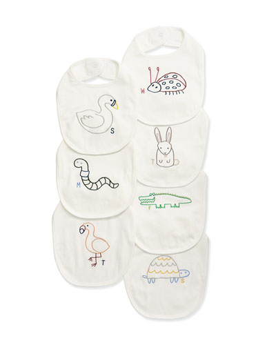 Teddy 7-Day Animal Bib Set, White