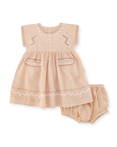 Ines Embroidered A-Line Dress w/ Bloomers, Pink, Size 12-24 Months
