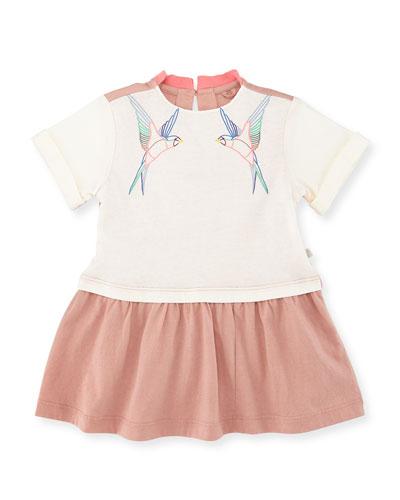 Jess Dropped-Waist Pear Bird Jersey Dress, Cream, Size 12-24 Months