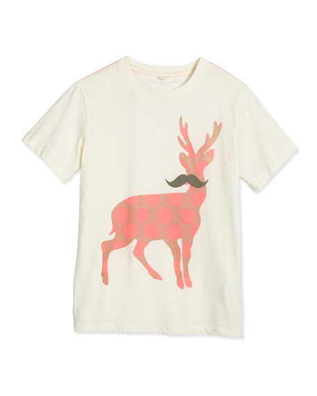 Arlo Polka-Dot Mustache Deer Jersey Tee, Cream, Size 8-14