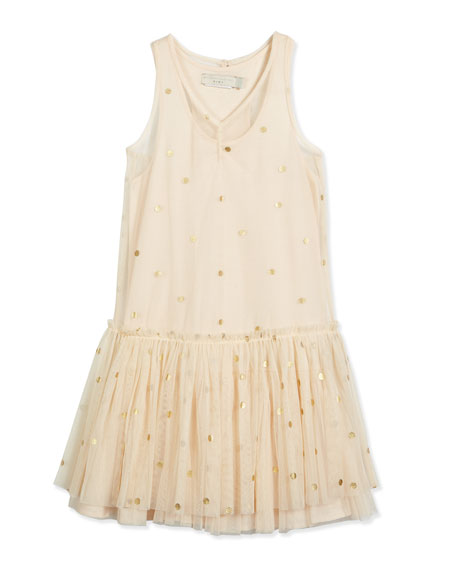 Bella Polka-Dot Tulle Dress, Buttermilk, Size 3-10