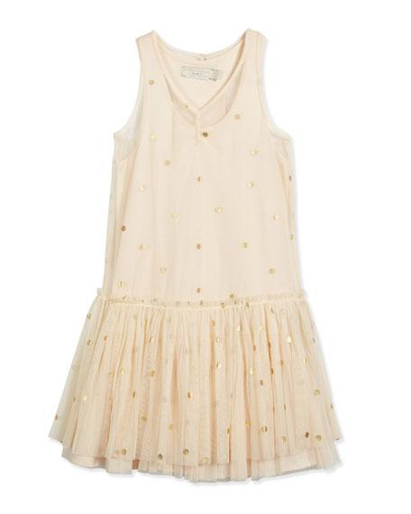 Bella Polka-Dot Tulle Dress, Buttermilk, Size 3-10