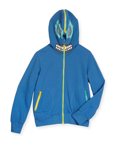 Bandit Zip-Front Hooded Sweatshirt, Blue, Size 4-10