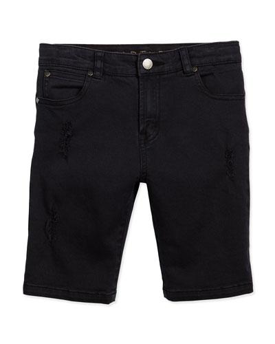 Moses Distressed Denim Shorts, Black, Size 4-10
