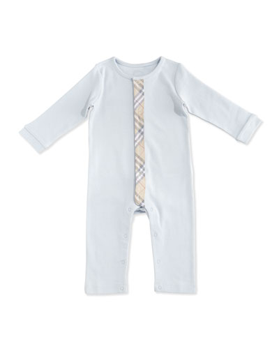 Merry Check-Trim Cotton Coverall, Ice Blue, Size 1-18 Months