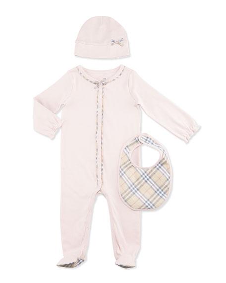 Burberry Jacey Footie Pajama Layette Set, Powder Pink,