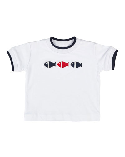 Tipped Fish Jersey Tee, White, Size 6-24 Months