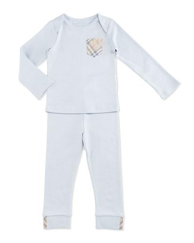Nate Two-Piece Cotton Pajama Set, Powder Pink, Size 1-18 Months