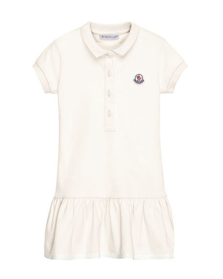 Moncler Short-Sleeve Cotton-Blend Polo Dress, White, Size 4-6