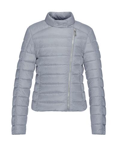 Clervie Asymmetric-Zip Puffer Jacket, Gray, Size 8-14