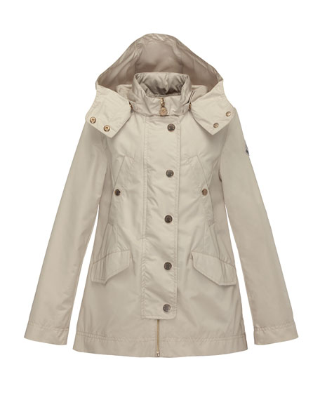 Moncler Armance Hooded Jacket, Tan, Size 8-14