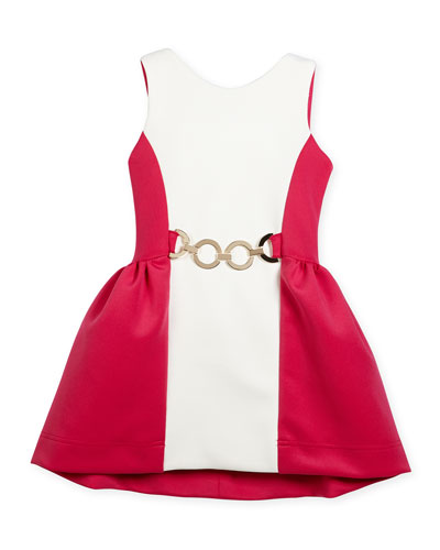 Sleeveless Colorblock Buckle-Trim Scuba Dress, Pink/Cream, Size 7-16