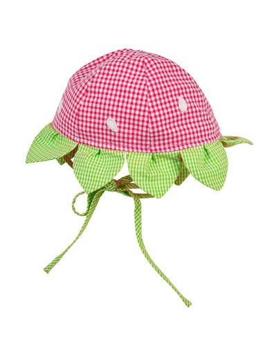 Gingham Strawberry Seersucker Hat, Fuchsia